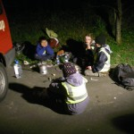 The Scouts practice heating food