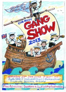 Poster for the Cub Scout Gang Show Saturday 29th June